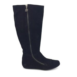 Born Tall Suede Boots 9.5 Black Leather Flat
